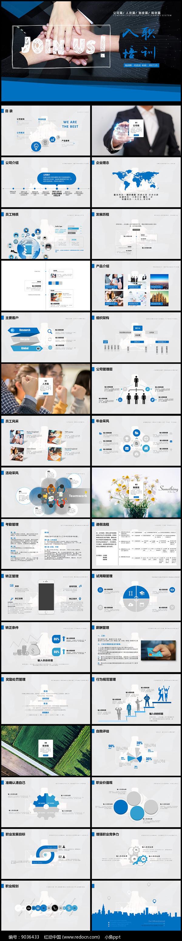 新员工入职培训手册PPT模板图片