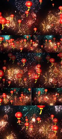 喜庆节日烟花粒子灯笼舞台