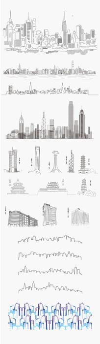 线性城市建筑群元素素材