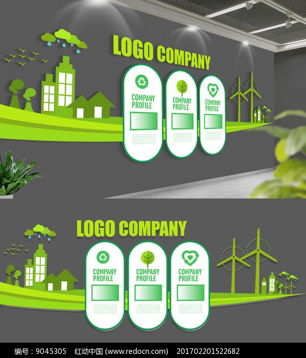 绿色环保企业文化墙图片