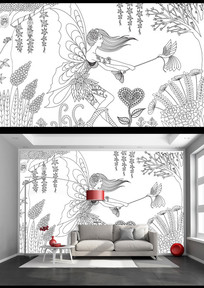 黑白线绘森林精灵艺术背景墙