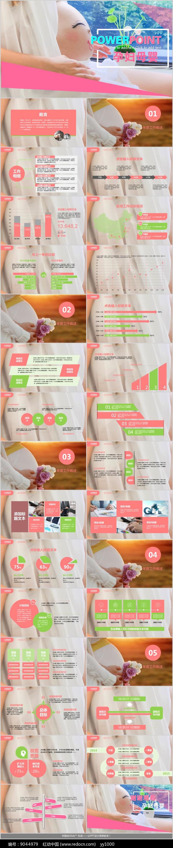孕妇母婴宝宝用品PPT模板图片