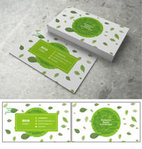 绿色环保叶子名片