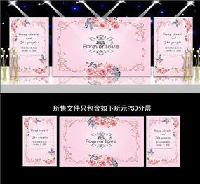 粉色婚礼水彩花卉背景
