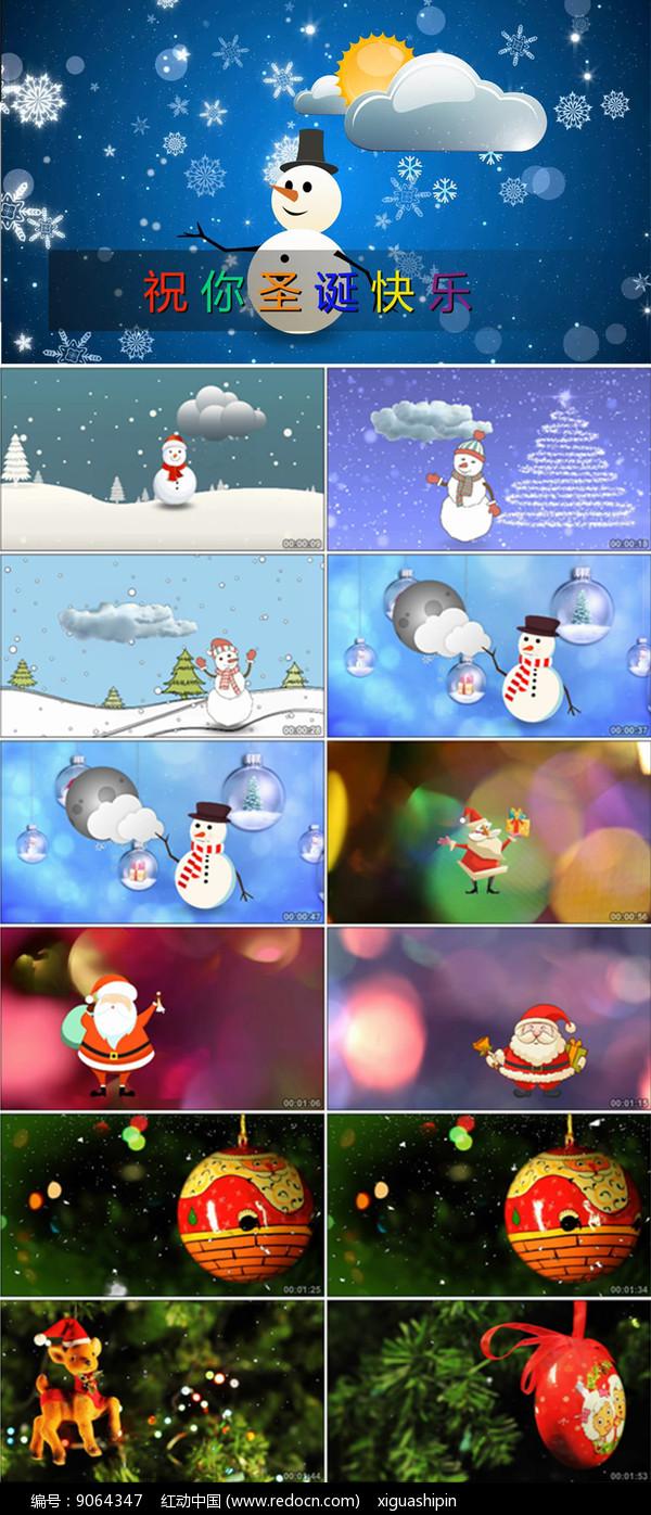 圣诞快乐圣诞节晚会背景雪人视频图片