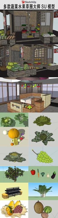 蔬菜水果果蔬草图SU模型