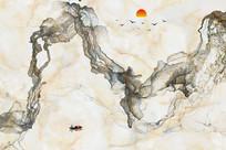 现代简约迷雾大理石背景墙