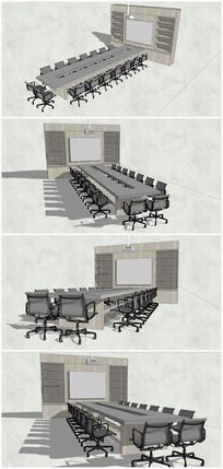 办公室桌椅SU模型素材