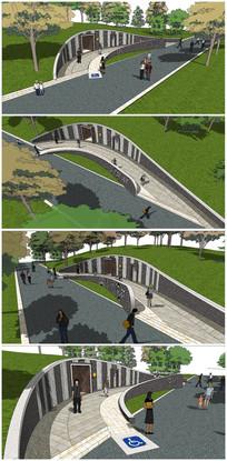 景观公共厕所建筑SU模型