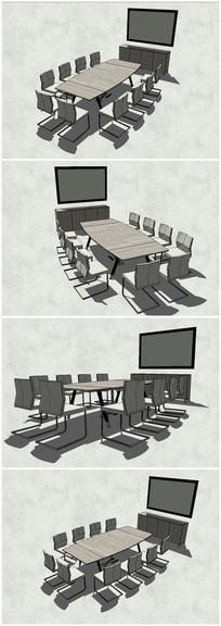 精品会议室会议桌椅SU模型