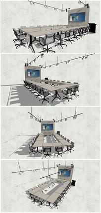 精品会议室桌椅屏幕SU模型