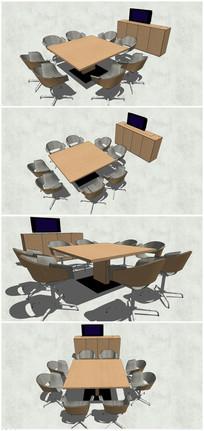 精品会议桌子SU模型