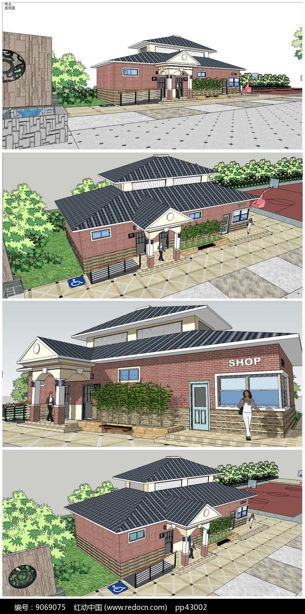 坡屋顶建筑厕所SU模型图片