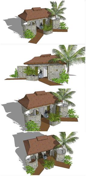 现代公共卫生厕所SU模型
