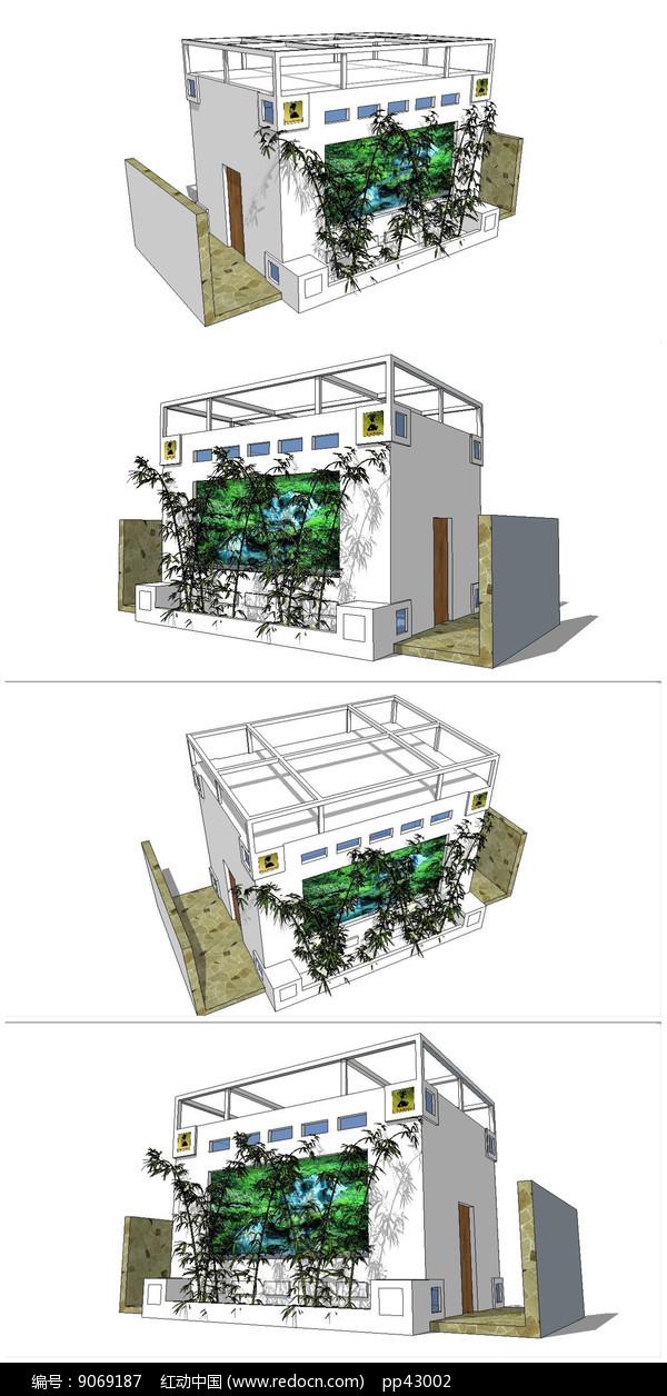现代简约公共卫生间SU模型图片