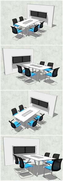 小型会议室办公桌SU模型