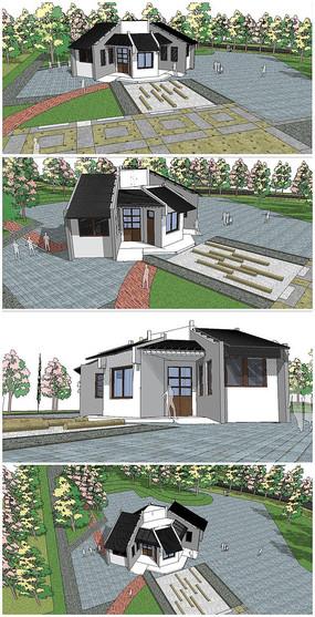 中式建筑公共卫生间SU模型