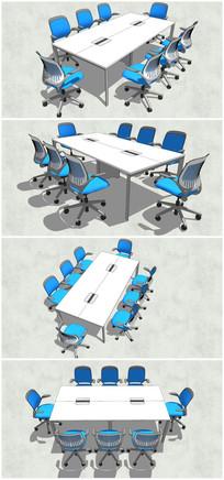 中型办公桌椅SU模型