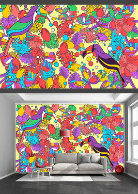 艳丽手绘花鸟装饰背景墙