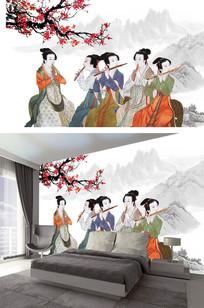 古典国画中式电视背景墙