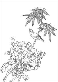 牡丹与翠竹装饰画