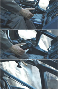 飞行员拉升飞机拉起操纵杆视频