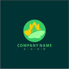枫叶 城市 建筑 标志 logo