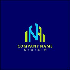 字母N 建筑 标志 logo