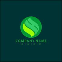 字母SH 叶子 绿色 标志 logo