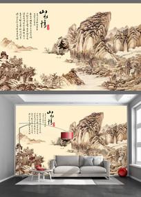 工笔国画山水电视背景墙
