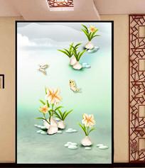 烤瓷浮雕蝴蝶兰花玄关