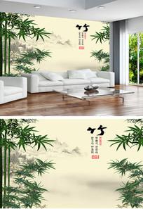 竹子水墨画中式电视背景墙