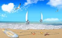 爱心扬帆远航海鸥漂流瓶背景墙