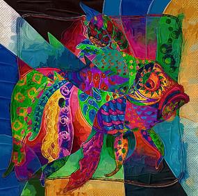 鱼抽象图案