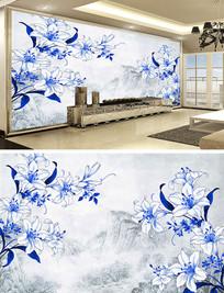 中国风青花瓷山水背景