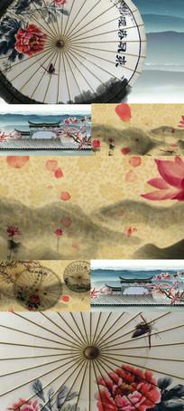 中国风水墨风格纸伞花瓣舞台