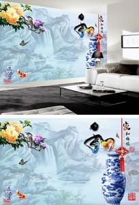 青花瓷牡丹花电视背景墙