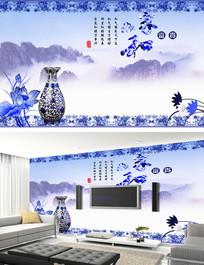 中国风古典青花瓷背景墙