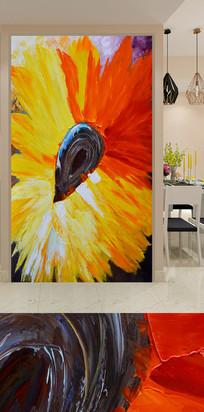 水彩喷绘向日葵花卉玄关装饰画