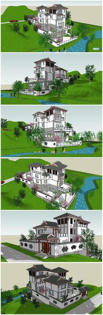 别墅住宅小区景观SU模型