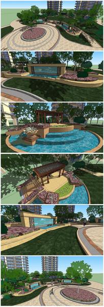 高档住宅小区景观SU模型