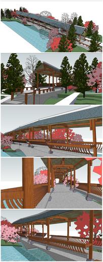 古典景观长廊景观SU模型