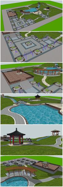 古典游园景观SU模型