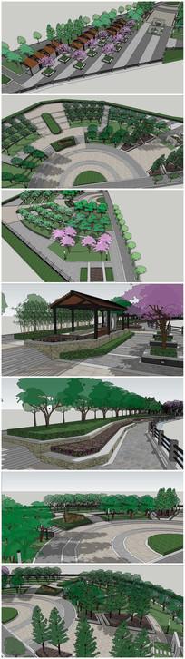景观游园长廊SU模型