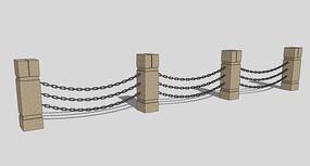 石柱铁索栏杆
