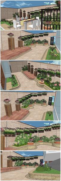 现代私家花园景观SU模型