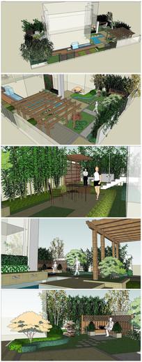 住宅小区庭院景观SU模型
