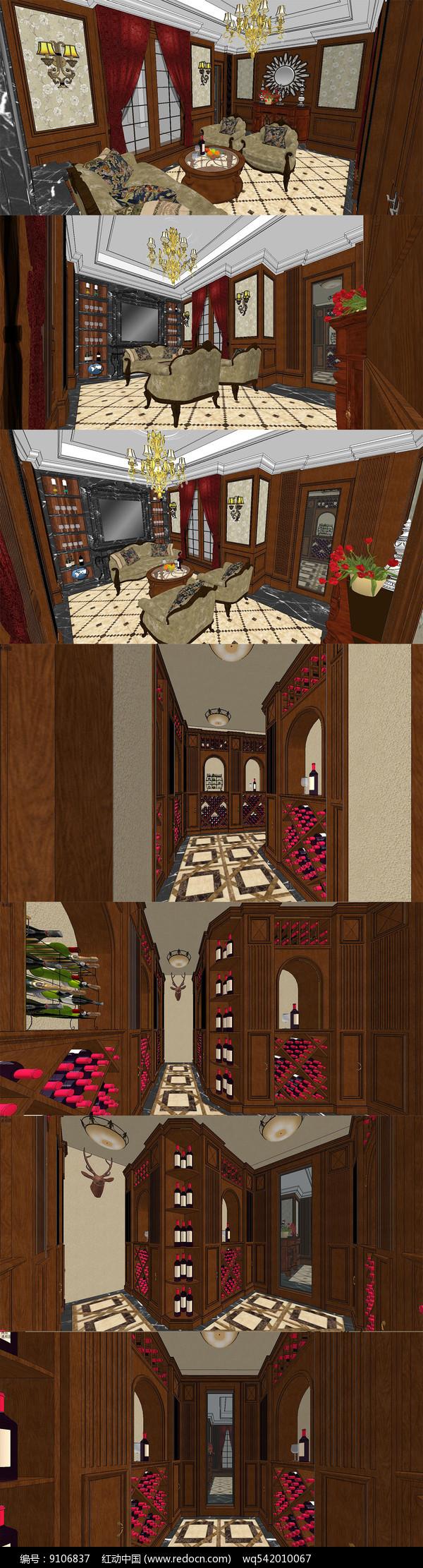 地下室红酒窖室内设计SU模型图片