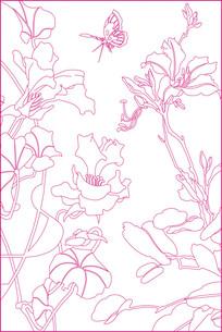 花卉线描雕刻图案