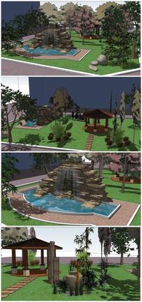 经典庭院花园SU模型